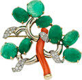 Estate Jewelry:Brooches - Pins, Emerald, Coral, Diamond, Gold, Platinum Brooch, Seaman Schepps. ...