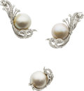 Estate Jewelry:Suites, Mabe Pearl, Diamond, Platinum Jewelry Suite, circa 1950. ...