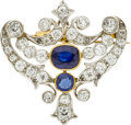 Estate Jewelry:Brooches - Pins, Antique Sapphire, Diamond, Platinum-Topped Gold Brooch. ...