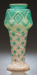 Art Glass, GREEN AND SILVER FLECKED GLASS ACID-ETCHED ART DECO VASE. Circa1925. 12-1/2 inches high (31.8 cm). ...
