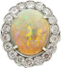 Estate Jewelry:Rings, Opal, Diamond, Platinum Ring. ...