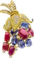 Estate Jewelry:Brooches - Pins, Diamond, Ruby, Sapphire, Platinum, Gold Clip-Brooch, Marchak,French. ...