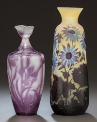 TWO GALLÉ OVERLAY GLASS VESSELS, circa 1900, Marks: Gallé; Printed label 8-3/8 inches high (21.3 cm