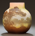 Art Glass:Galle, GALLÉ OVERLAY GLASS LANDSCAPE VASE. Circa 1900, Cameo:Gallé. 5 inches high (12.7 cm). ...