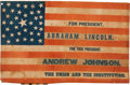 Political:Textile Display (pre-1896), Abraham Lincoln: Large 1864 Parade Flag. ...