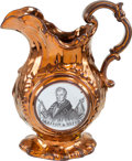 Political:3D & Other Display (pre-1896), William Henry Harrison: Exceptional Copper Luster Pitcher. ...