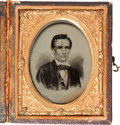 Photography:Ambrotypes, Abraham Lincoln: Ninth Plate Cased Campaign Ambrotype....