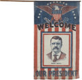 Political:Textile Display (1896-present), Theodore Roosevelt: Welcome Banner....