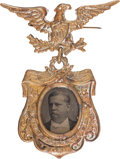 Political:Ferrotypes / Photo Badges (pre-1896), Winfield Scott Hancock: Ferrotype Badge....