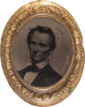 Political:Ferrotypes / Photo Badges (pre-1896), Abraham Lincoln: Small 1860 Ferrotype Brooch....
