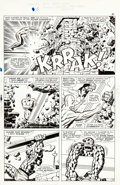 Original Comic Art:Panel Pages, Jack Kirby and Joe Sinnott Fantastic Four #55 Silver Surfervs. Thing Page 14 Original Art (Marvel, 1966)....