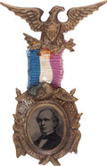 Political:Ferrotypes / Photo Badges (pre-1896), Horatio Seymour: Ornate Ferrotype Badge....