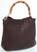 Luxury Accessories:Bags, Gucci Brown Leather & Bamboo Top Handle Bag. ...