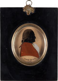 Political:3D & Other Display (pre-1896), George Washington: 1790 Silhouette on Glass Wall Plaque....
