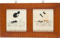 Antiques:Black Americana, Abolition: Pair of Pinprick Art Portraits with Verses. ...