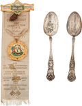 General Historic Events:World Fairs, Louisiana Purchase Exposition: Spoons and Ornate Badge.... (Total: 3 Items)