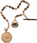 Antiques:Clocks & Watches, A Beautifully Detailed Hunter's Case Watch with Delicate GoldQuartz Chain and Fob. ...