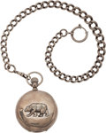 Antiques:Clocks & Watches, Man's Sterling Silver Pocket Watch with California Bear. ...