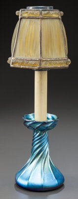 TIFFANY STUDIOS CANDLESTICK LAMP WITH BLUE FAVRILE BASE AND LINEN FOLD SHADE Circa 1910, Base Engraved: L.C.T