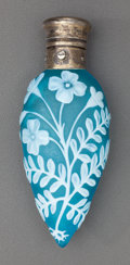 Art Glass:Webb, THOMAS WEBB BLUE OVERLAY GLASS FLORAL PERFUME VIAL WITH GORHAMSILVER MOUNTS. Circa 1882, Marks to silver: (lion-anchor-G), ...