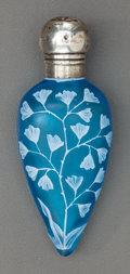 Glass, THOMAS WEBB BLUE OVERLAY GLASS FLORAL PERFUME VIAL WITH WILLIAM STRINGER MILLS SILVER MOUNTS. Circa 1884-1885, Marks to silv...