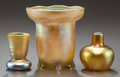Art Glass:Tiffany , THREE TIFFANY STUDIOS FAVRILE GLASS CABINET VASES. Circa 1900,Engraved to tallest: L.C. Tiffany - Favrile, 1804. 3-5/8 ...(Total: 3 Items)