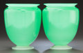 Art Glass:Steuben, PAIR OF STEUBEN GREEN JADE GLASS FOOTED VASES. Circa 1920. 9 incheshigh (22.9 cm). ... (Total: 2 Items)