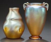 TWO TIFFANY STUDIOS GOLD FAVRILE GLASS VASES, Circa 1900, Engraved: L.C. Tiffany - Favrile, 6142 G; 2789 G<