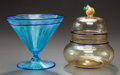 Art Glass:Steuben, STEUBEN VENETIAN GLASS FOOTED BOWL AND STEUBEN VENETIAN GLASSCOVERED BOWL, circa 1920. 5-1/4 inches high (13.3 cm) (footed ...(Total: 2 Items)