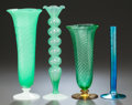 Art Glass:Steuben, FOUR STEUBEN GLASS VASES. Early 20th century, Engraved to blueexample: AURENE, 2446. 10-5/8 inches high (27.0 cm) (tall...(Total: 4 Items)