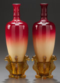Art Glass:Other , PAIR OF POLISHED PEACHBLOW GLASS MORGAN VASES WITH DRAGONPEDESTALS. Circa 1900. 10 inches high (25.4 cm) (with stand). ...(Total: 4 Items)