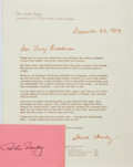 Autographs:Authors, Arthur Hailey. Signature on 3 by 5 inch card. Together with formletter signed by his wife, Sheila Hailey. Responding to a f...