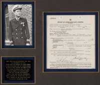 John F. Kennedy: World War Two Signed Navy Report