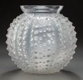 Glass, R. LALIQUE GLASS OURSINS VASE WITH BLUE PATINA. Circa 1931, Stenciled. R. LALIQUE. 7-1/2 inches high (19.1 cm). ...