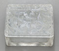 Art Glass:Lalique, R. LALIQUE GLASS HIRONDELLES CIGARETTE BOX AND COVER. Circa1925, Engraved: R. Lalique. 4 inches high (10.2 ...