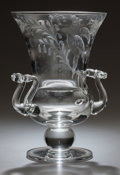 Art Glass:Steuben, STEUBEN CLEAR GLASS ENGRAVED TWO-HANDLED VASE. 20th century,Engraved: 29942. 10-3/4 inches high (27.3 cm). ...