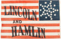Political:Textile Display (pre-1896), Lincoln & Hamlin: A Superb, Virtually Mint 1860 Campaign Flag - the Threads of History Plate Example....