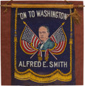 Political:Textile Display (1896-present), Al Smith: An Attractive and Unusual Felt Mini-Banner. ...