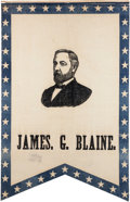Political:Textile Display (pre-1896), Blaine & Logan: An Outstanding Matched Pair of Large GlazedCotton Banners for this 1884 Republican Ticket.... (Total: 2 Items)