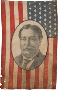 William Howard Taft: A Very Rare Large 1908 Campaign Flag Banner