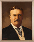 Political:Textile Display (1896-present), Theodore Roosevelt: Portrait on Canvas....