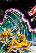 Original Comic Art:Miscellaneous, Virgil Finlay Science Fiction Book Club Newsletter Space WarPreliminary Illustration Original Art (undated)....