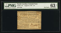 North Carolina August 8, 1778 $4 A Lesson to Arbitrary Kings, and Wicked Ministers PMG Choice Uncirculated 63 Net