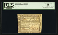 Virginia May 7, 1781 $1000 PCGS Apparent Extremely Fine 45