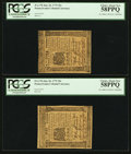 Colonial Notes:Pennsylvania, Pennsylvania July 20, 1775 20s Consecutive Pair PCGS Choice AboutNew 58PPQ.. ... (Total: 2 notes)