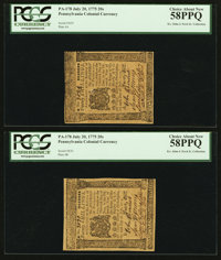 Pennsylvania July 20, 1775 20s Consecutive Pair PCGS Choice About New 58PPQ