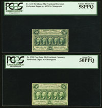 Fr. 1310 and Fr. 1311 50¢ First Issue Notes PCGS Choice About New 58PPQ and About New 50PPQ
