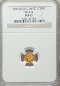 California Fractional Gold: , 1856 50C Liberty Round 50 Cents, BG-434, Low R.4, MS62 NGC. NGCCensus: (7/3). PCGS Population (38/22). ...