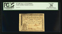 North Carolina April 2, 1776 $3 Beehive PCGS Apparent Very Fine 30