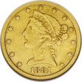 1881-CC $5 --Cleaned--ANACS. VF20 Details. NGC Census: (7/63). PCGS Population (5/61). Mintage: 13,886. Numismedia Wsl...